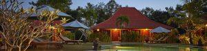 Three Monkeys Villas Uluwatu at night by pool